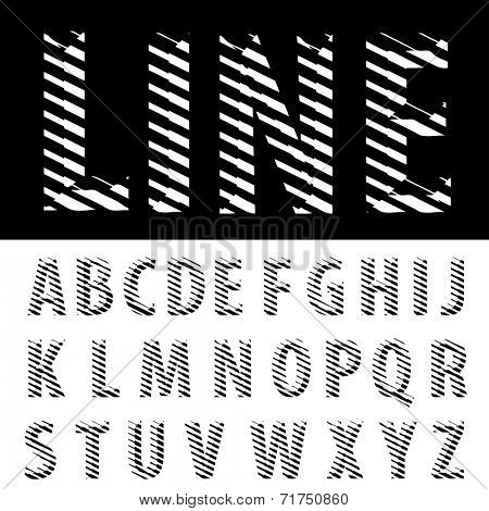 original vector font with strips