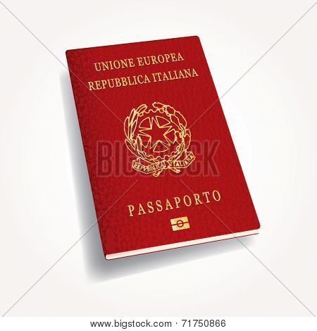 Italian passport, vector illustration