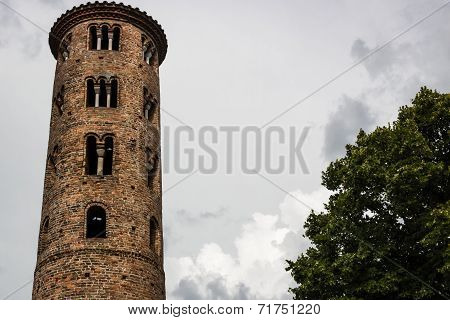 Romanesque Cylindrical Bell Tower Of Countryside Church