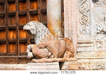 Basilica Of San Zeno Verona - Marble Lion