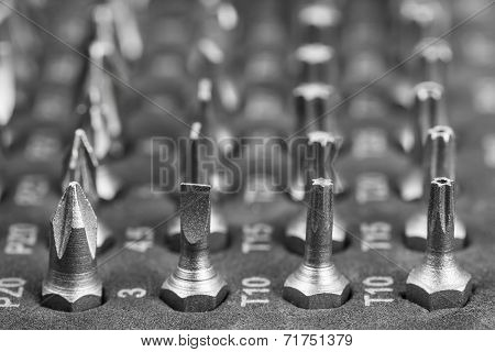 Set of different bits for a screwdriver