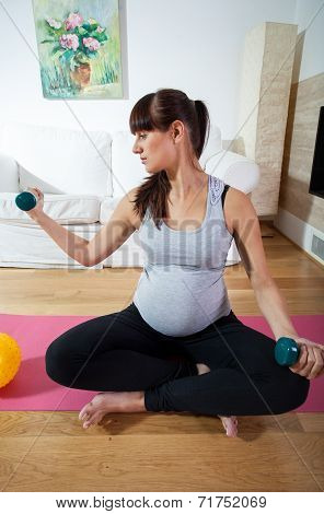 Pregnant Woman During Fitness Workout