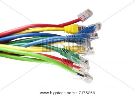 Set Of Brightly Multi Coloured Ethernet Network Cables