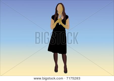 Vector illustration of woman with microphone in her hands