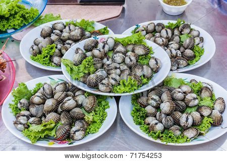 Cockles. Seafood In  Market