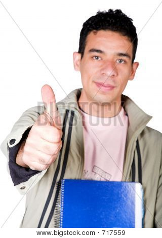 Casual Student With Thumbs Up