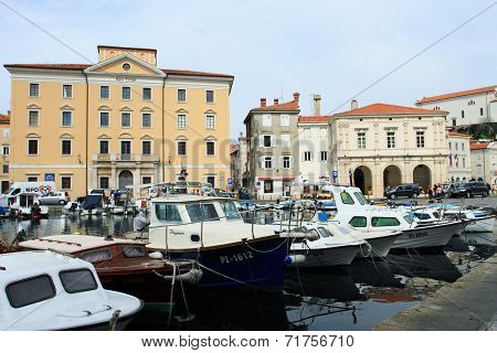 Harbor of Piran in Slovenia
