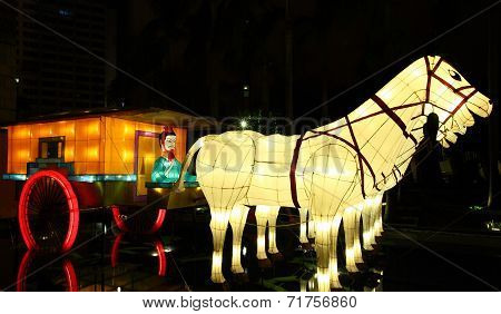 Chinese lanterns showing Xian Terracotta Army