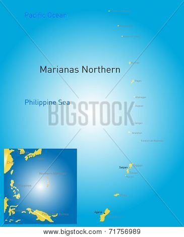 Vector color northern mariana islands map