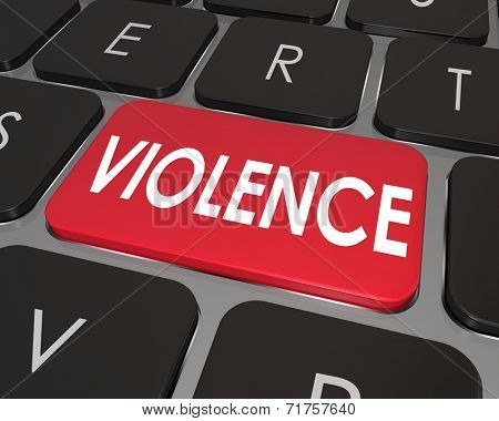 Violence word on a red computer keyboard button to illustrate violent video games or internet websites online