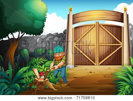 Illustration of a woodman chopping woods