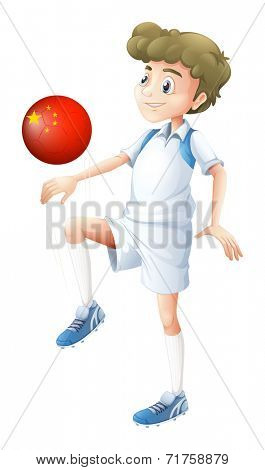 Illustration of a boy using the soccer ball with the flag of China on a white background
