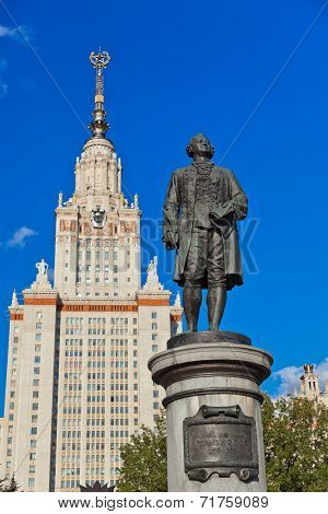 Lomonosov Statue In University At Moscow Russia