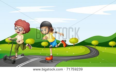 Illustration of the kids playing at the road