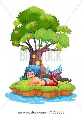 Illustration of a mermaid near the treehouse on a white background