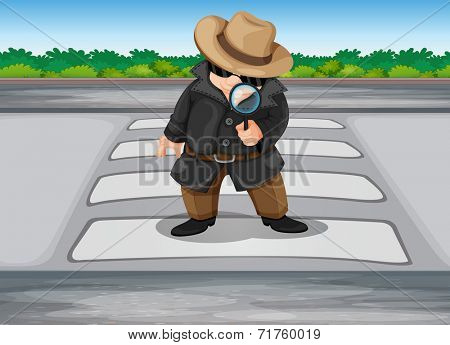 Illustration of a detective at the pedestrian lane