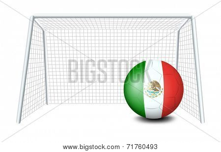 Illustration of a soccer ball with the flag of Mexico on a white background