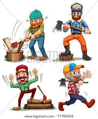 Illustration of the hardworking woodmen on a white background