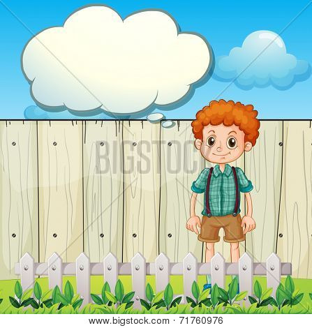 Illustration of a boy at the backyard with an empty callout