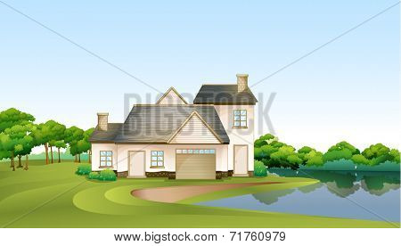 Illustration of a big house at the forest near the river