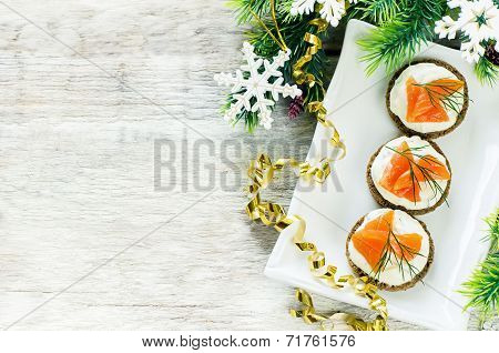 Canape With Salmon And Cream Cheese With Dill