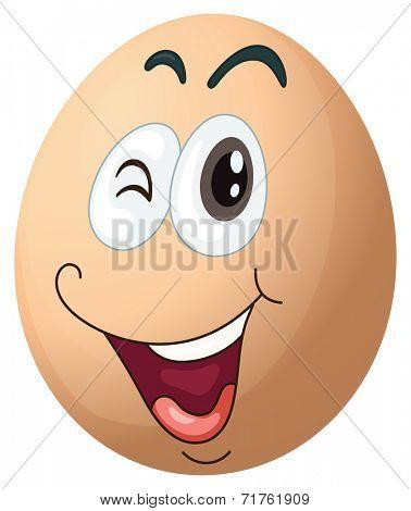 Illustration of a smiling egg on a white background