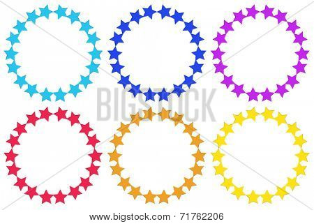 Illustration of the circles made of stars on a white background