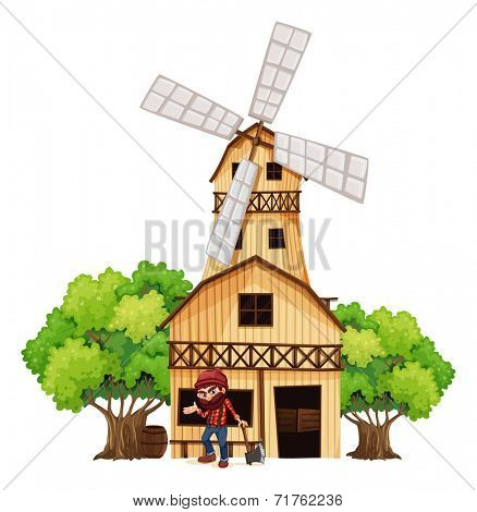 Illustration of a woodman holding an axe beside the wooden building on a white background
