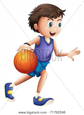 Illustration of an energetic young man playing basketball on a white background