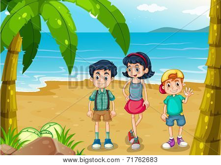 Illustration of the children strolling at the beach