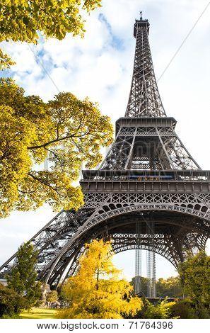Famous Eiffel Tower In Autumn