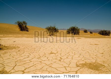 dry and cracked ground in desert death valley