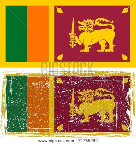 Sri Lanka grunge flag. Vector illustration