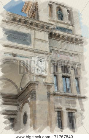 art watercolor background on paper texture with european antique town, Italy, Florence. Portal with frieze and order