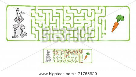 Vector Maze, Labyrinth Game for Children with Rabbit  and Carrot.