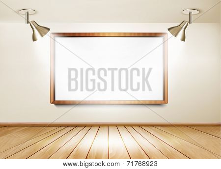 Showroom with wooden floor, white board and two lights. Vector.