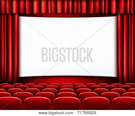 Rows of red theater seats in front of white screen surrounded by red curtains. Vector.