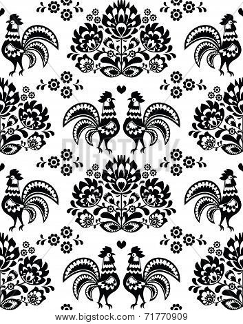 Seamless Polish, Slavic black folk art pattern with roosters - Wzory Lowickie, wycinanka