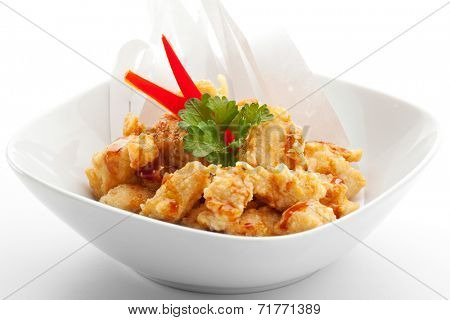 Japanese Cuisine - Tempura Chicken with Parsley. Garnished with Paper
