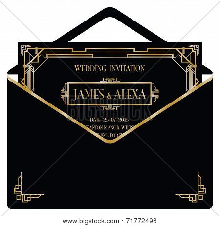 art deco style invitation card and envelope