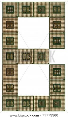 letter B  made of old and dirty microprocessors