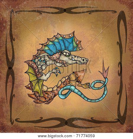 Dragon on manuscript
