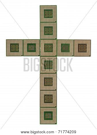 Cross made of old and dirty microprocessors
