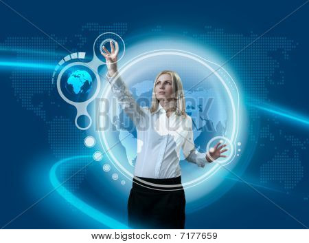 Future Globe Interface Navigating By Attractive Blonde