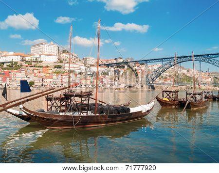 traditional port wine boats, Porto,  Portugal