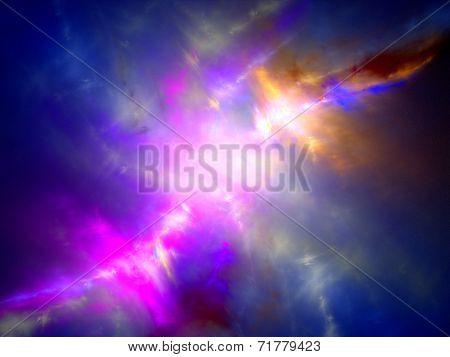 Multicolor Nebula In Space