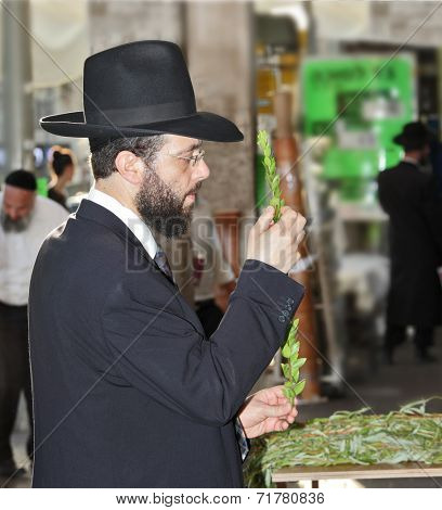 BNEY-BRAK, ISRAEL - SEPTEMBER 17, 2013:  Grand Bazaar on the eve of the Jewish holiday. Handsome young man in a black hat chooses ritual plant - myrtle