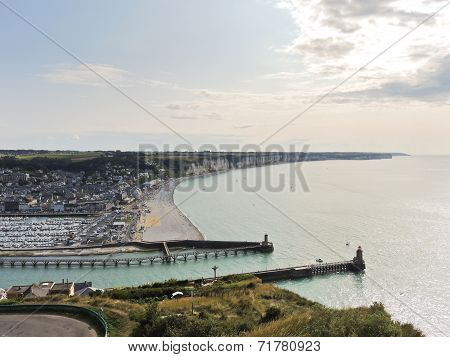 English Channel Coast And Etretat Town In Normandy