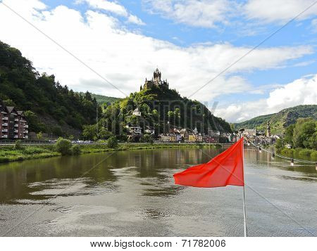 Red Flag And Cochem Town On Moselle River