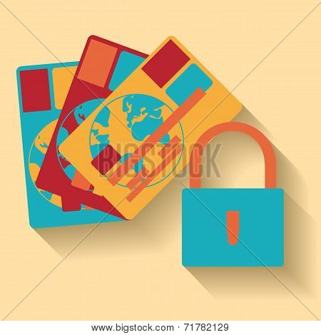 Flat design of vector credit card protection concept icon